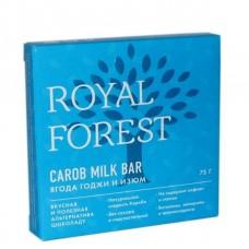 """Натуральный шоколад """"Ягоды Годжи и Изюм"""" Carob milk bar Royal Forest, 75 г"""