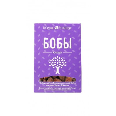 Отборные необжаренные какао-бобы элитного сорта Криолло Royal Forest, 100 г