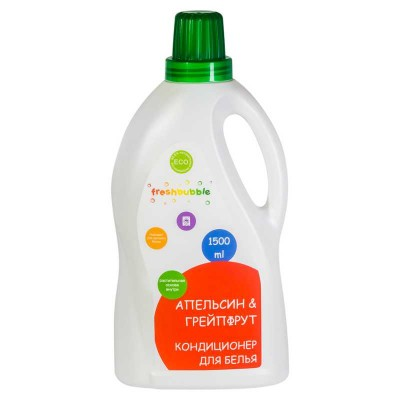 Натуральный кондиционер для белья Апельсин и Грейпфрут FreshBubble, 1500 мл (Леврана)