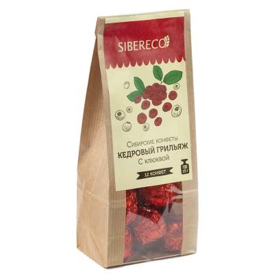Конфеты сибирские Кедровый грильяж с Клюквой, 150 г (Sibereco)
