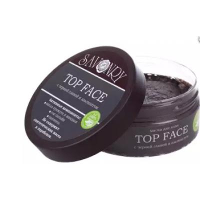 Маска для лица Top Face с черной глиной и альгинатом, 150 г (Savonry)